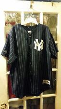 VINTAGE Majestic New York Yankees Blue Baseball Jersey Grey Pinstripes Adult XL