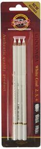 KOH-I-NOOR White Coal Pencils (Pack of 3)