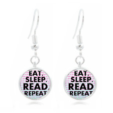 BOOK NERD Glass Dome Earrings Art Photo Tibet silver Earring Jewelry #68