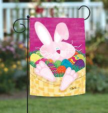 NEW Toland - Basket Case - Bright Colorful Easter Bunny Rabbit Egg Garden Flag