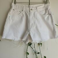 Assembly Label White Denim Shorts 10 Back Logo Mid-Rise Frayed Distressed Casual