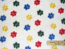Cat & Dog Bright Paws Paw Prints Fleece Fabric  by the Yard
