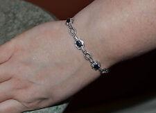 "Sterling Silver Diamond & Sapphire Bracelet 7.5""  (.02 ct, IJ,I2)"