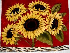 New Kitchen Dish Towels W Crochet Tops  #t226 Sunflowers