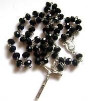 Black Beads Rosary Necklace & Italy Cross necklace crucifix catholic