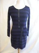 Ladies Dress - Criminal, size XS, black/purple stripe, zips, 10% wool NEW - 7295