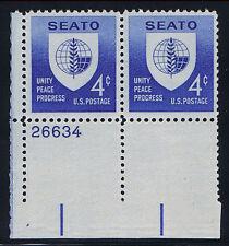 PLATE BLOCK of 2 - #1151 SEATO CONFERENCE 4c (1960)