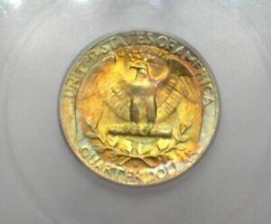 1964-D WASHINGTON SILVER 25 CENTS ICG MS67 LISTS FOR $425! AMAZING REV. TONING!