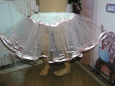 """Pink Tulle Slip Petticoat Crinoline Pink Ribbon 23"""" Doll clothes fit My Twinn"""