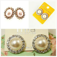 pearl and crystal stud earrings multiple choices