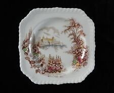 "Johnson Bros CASTLE ON THE LAKE PINK MULTI-COLORED PLATE 6"" England"