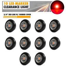 "10X 3/4"" Clear Lens Red Light LED Marker Bullet Lights Lamps Truck Trailer Bus"