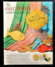 Vtg 1952 Cone towels retro fish starfish sea motif advertisement print ad art