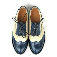Colors Women Leather Stitching Colors Formal Dress Oxfords Wing Tip Shoes Retro