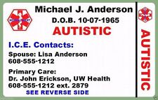 Medical Wallet Plastic ID Card Alzheimer Dementia AD Personalized 2 Side Custom