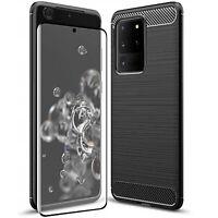Coque pour Samsung Galaxy S20 / Plus / Ultra Étui Carbon + Verre Trempé 9H