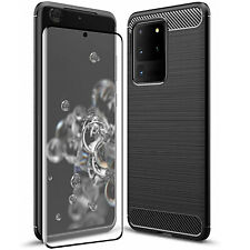 COVER per Samsung Galaxy S20 / Plus / Ultra CUSTODIA CARBON + VETRO TEMPERATO 5D