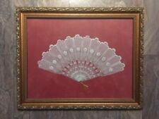 Lace Fan w/ Gold Tassel and Inlay - Velvet Backing and Frame - Stunning Display