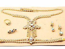 Vintage Czech gold plate AB rhinestone necklace bracelet ring brooch earring set