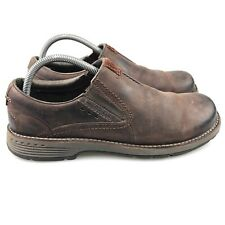Men's Merrell Realm Moc Brown Leather Slip On Loafers Size 8