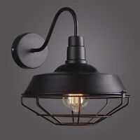 Vintage Goose Neck Barn Sconce Wall Mounted Cage Lamp E27 Light Lighting Fixture