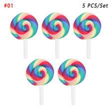 Clay Handicraft Cabochon Crafts Miniature Rainbow Lollipop Simulation Candy