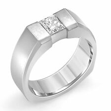 0.60 Ct Princess Men's Diamond Bezel Set Wedding Band G VS2 Ring 14k White Gold
