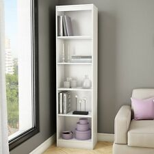 Narrow Bookcase Tall 5 Shelf White Modern Storage Furniture Bookshelf Book Shelf
