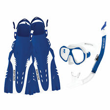 Body Glove Enlighten II Large/XL Snorkel Goggles Mask and Fins Set, Blue/White