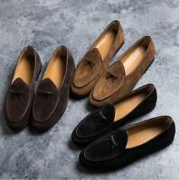 New Mens Flat Bowtie Suede Leather Loafers Slip on Belgian Dress Driving Shoes