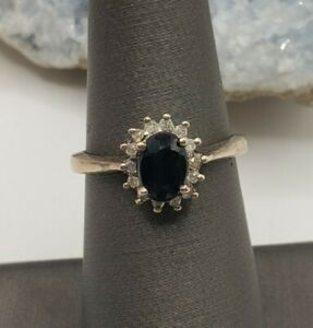 DESIGNER STERLING SILVER DIAMONDS AND SAPPHIRE RING SIZE 6.5