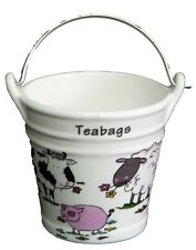 farmyard teabag tidy large Bucket, decorated with sheep pig cow design