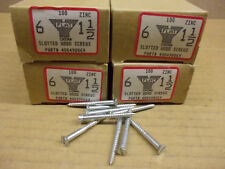 """Wood Screw #6 1-1/2"""", slotted, flat head,  zinc plated steel, 4 boxes of 100"""