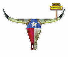 Texas Longhorn with Flag superimposed on it Decal/Sticker Lone Star State FLG96