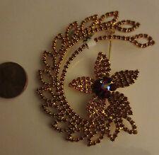 Pin Brooch Big Brilliant Garnet Color Rhinestone Cluster Flower on Moon NWT B177