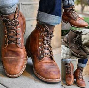 2021 Men's Ankle Boots Leather Retro Lace Up Army Biker Combat Military Shoes