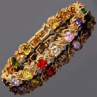 Rhinestone Glass Round Cut Multi-Color Tennis Statement Fashion Bracelet