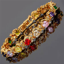 Rhinestone Glass Round Cut Multi-Color Tennis Statement Fashion Bracelet