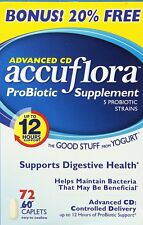 Accuflora Advanced CD Probiotic Supplement caplets, 72 Count -Expiration 03-2019