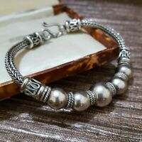 "Suarti Style Sterling Silver Bracelet, Balinese, Unisex Bracelet, Heavy, 7.5"""