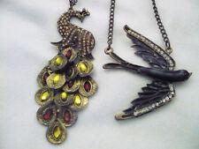 2 bird necklaces antiqued brass color & rhinestones peacock & black enamel bird
