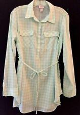 XS Ingrid & Isabel Maternity Mint Long Sleeve Plaid Popover Tunic NWOT