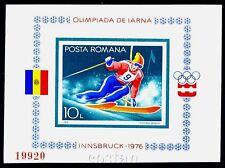 1976 Innsbruck Olympics,Alpine Ski,Winter sports,Romania,Bl.129,IMPERF,CV$60,MNH