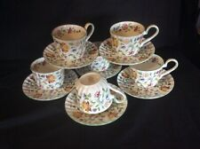6 Tea Cup And Saucers In Green Minton Haddon Hall Design