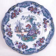 Sobraon Flow Blue Dinner Plate Polychrome Pagoda Flowers Earthenware Antique