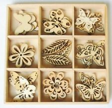 45-pc SPRING Butterfly Mini Laser Cut Wood Shapes Flower Leaves 2015-01