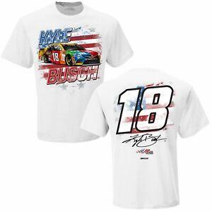 Kyle Busch #18 Nascar 2021 Men's White Old Glory 2-Sided Shirt 3XL