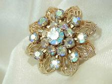 Very Pretty Vintage 50's Aurora Prong Set Rhinestone Ornate Flower Brooch 229j7