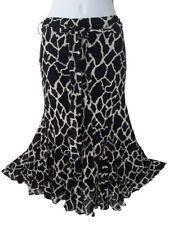 Wallis UK 8 Black and White Flared Panel Skirt Belted Elasticated Waist Lined