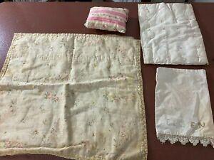 Edwardian Doll Linens-Roses Print Coverlet-Pink Ticking Pillow/Case,Comforter